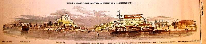 1848 woodcut of HM Dockyard at Ireland Island, Bermuda