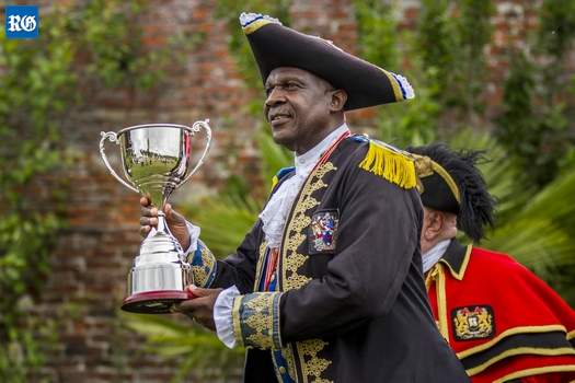Hamilton Town Crier with trophy