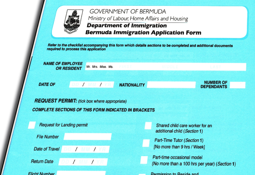 Bermuda Immigration application form