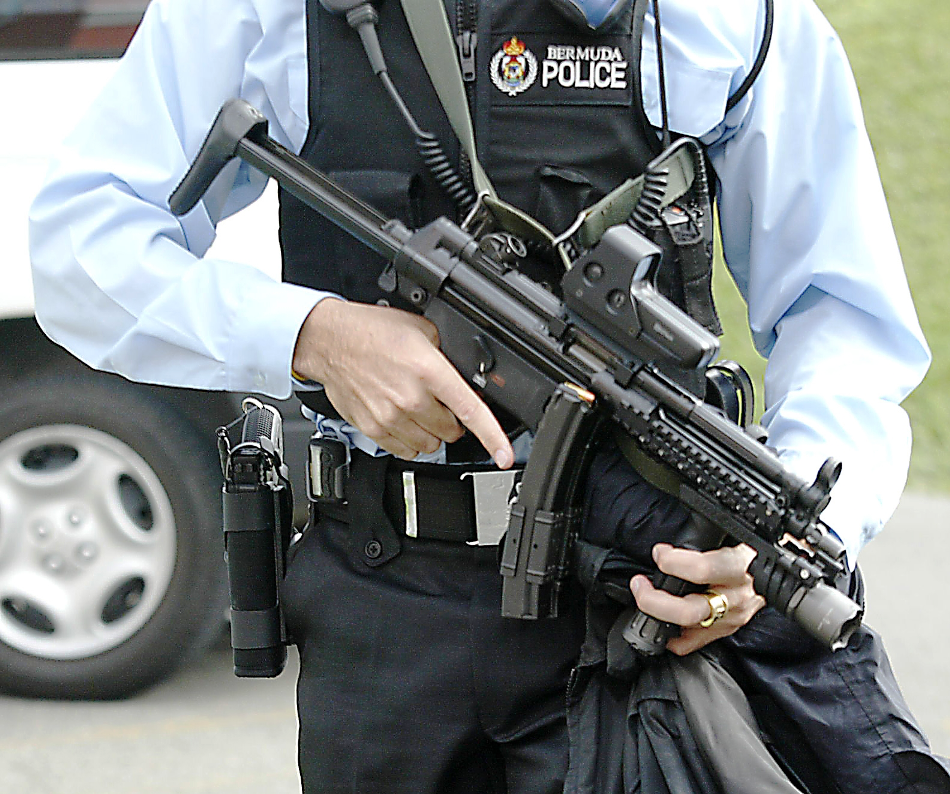 Bermuda Police with weapon