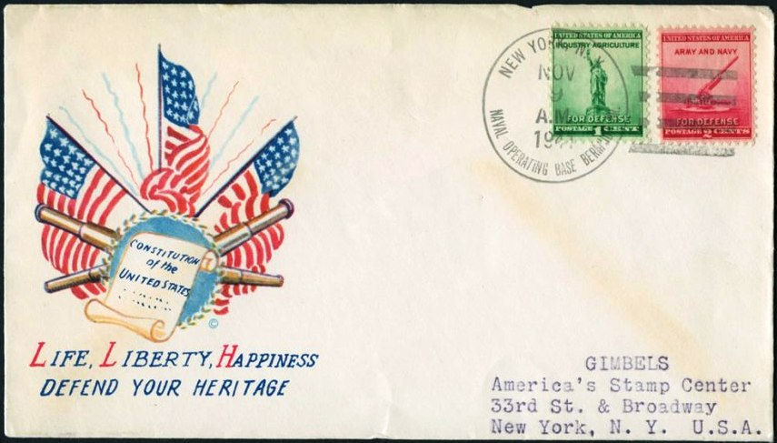 1941 first mail sent home by US Marines based in Bermuda