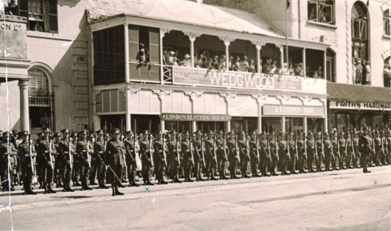 Sherwood Foresters on parade in Bermuda