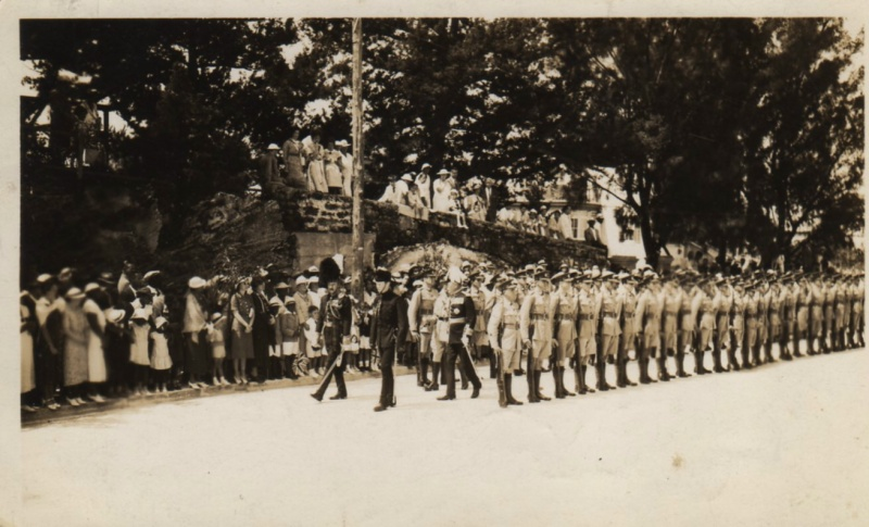 Sherwood Foresters parading in Bermuda with Governor