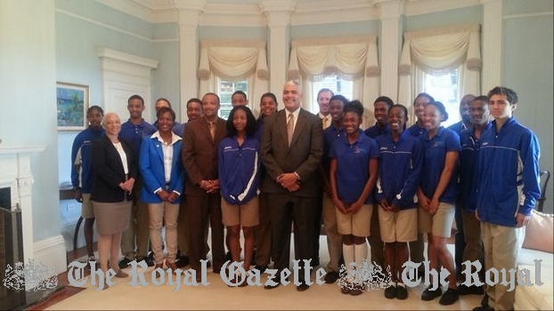 2013 Carifta athletes from Bermuda with Premier