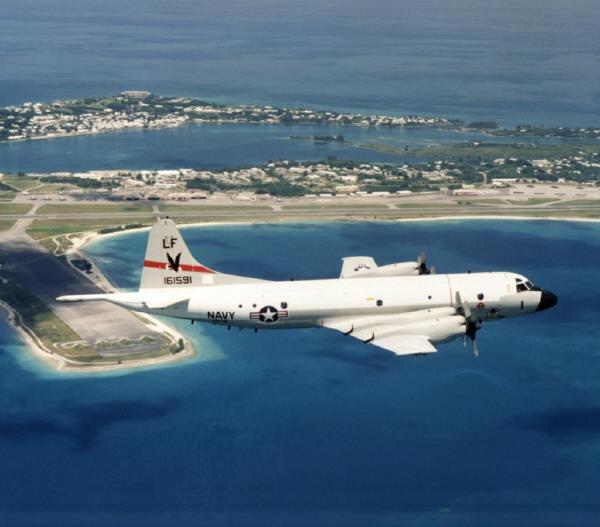 US Navy P3 Orion passing over Bermuda
