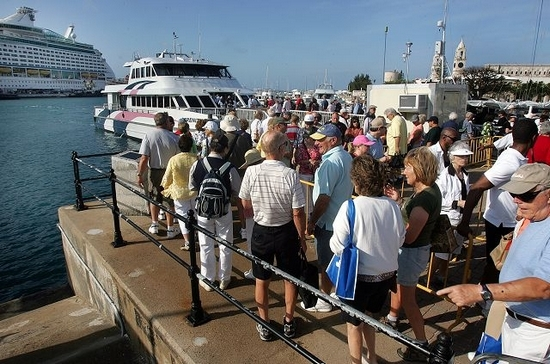 Cruise passengers awaiting ferry