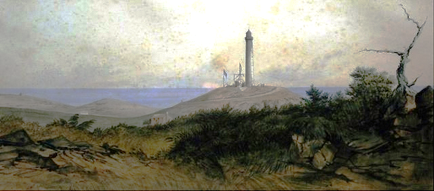 1848 image of the lighthouse painted by Hallewell
