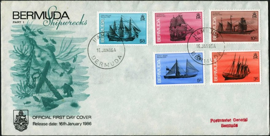1986 First Day Cover of Bermuda Shells postage stamps