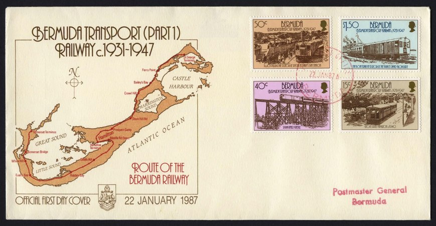 Bermuda Railway First Day Cover and postage stamps