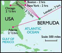 Bermuda positioned with USA