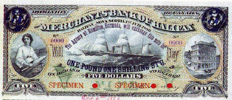 Merchant Bank of Halifax overprinted Bermuda banknote 1883
