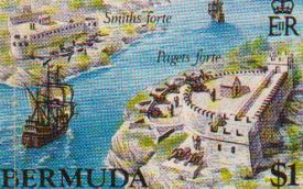 Forts on a Bermuda stamp
